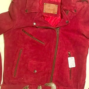 FREE PEOPLE LEATHER JACKET DEEP DARK RED SIZE